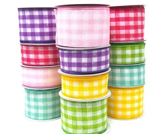 Colorful Gingham Linen Wired Ribbon, 10 Yards
