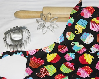 Colorful Cupcakes on Black Child Apron