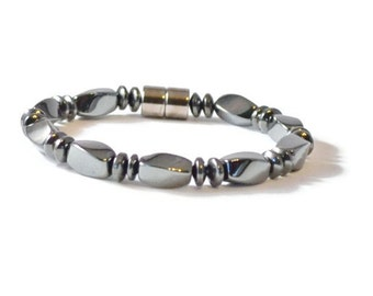 Men's Black Magnetic Hematite Bracelet, Health Jewelry, Pain Relief