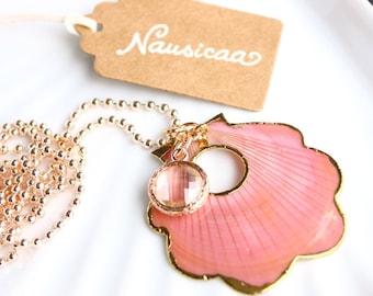 Nausicaa-natural shell and Crystal pendant necklace