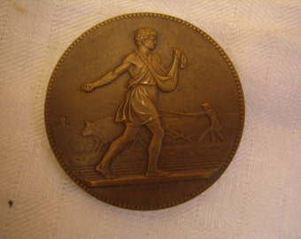 Antique Bronze Medal Department of Agriculture, agricultural Associations, french Vintage 1950's