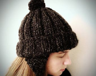 Starry Night Knitted Hat with Earflaps