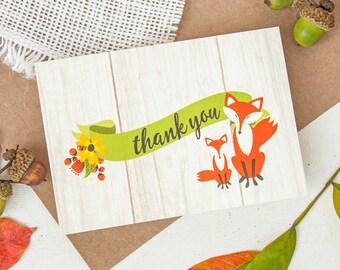Thank You Notes Fox Design - Woodland Fox Notes - Fox Thank You Notes - Baby Shower Thank You