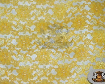 "Lace Floral Rachelle Fabric YELLOW / 60"" Wide / Sold by the yard"