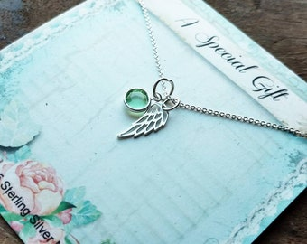 Memorial Gift, Angel Wing, Charm, Pendant, Necklace, Angel, Wings, Personalized, Birthstone, Memorial, Sympathy, Jewelry, Sterling Silver