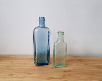 Vintage Pair of Glass Medicine Bottles Apothecary Bottles Old Medicine Bottles Boho Retro Old Blue Bottles Old Green bottles