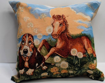 Decorative kids room tapestry pillow 19 x 19 inches