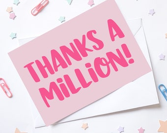 Thank you A6 Note Cards and envelopes Set of 6 /notelettes / postcard style / thank you cards / thanks a million card / your a star /