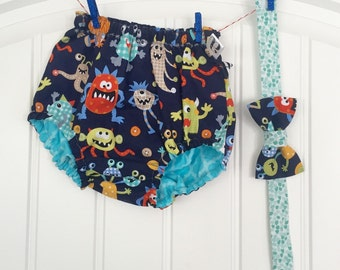 Little Monster Mash Reversible Geometric Baby Bloomer Diaper Cover and Bow Tie Birthday Cake Smash Outfit 18-24 Month