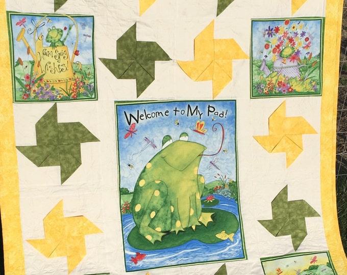 Frog Quilt, Handmade, Children, Whimsical