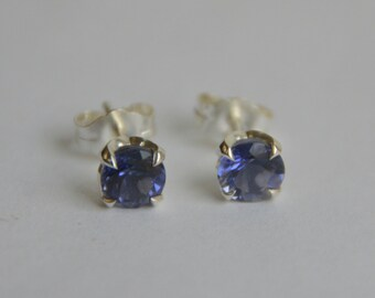 Silver Iolite Studs, silver earrings, blue gemstone stud earrings, flower earrings, gemstones, floral studs, gifts for moms