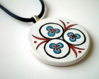 Cintemani Ottoman Art Necklace ,  Hand Painted  Folk Art Pendant,  gift under 50 for  collectibles