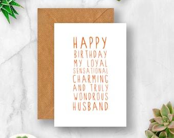 Sweet Description Happy Birthday Husband Card, Husband Birthday Card, Card for Husband, Husband Card, Birthday Husband Card