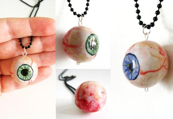 Eyeball necklace halloween realistic eye pendant anatomical aloadofball Image collections
