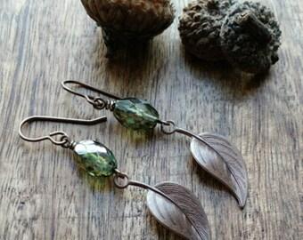 Leaf earrings long dangle earrings gift for nature lover green glass earrings earthy beaded jewerly beaded earrings gift for hiker bohemian