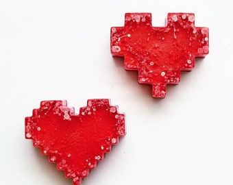 Red Pixel Magnet Heart Set