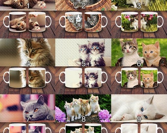 Adorable Cat Kitten Gift Mugs - 11oz Ceramic Mug -  Gifts for Her - Cat Lover Gift -  Cat Lady Coffee Mug - Fluffy Lazy Cat - Mix & Match
