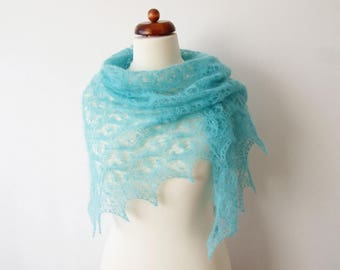 mint mohair scarf, handknit lace shawl, gift for her, bridal cover up