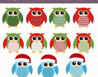 Christmas Owls Clipart Digital Art Set INSTANT DOWNLOAD Christmas Clipart Owl Clip Art
