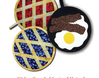 pot holder pattern - Over Easy Peasy - fruit pie and bacon and eggs