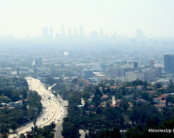 Los Angeles Skyline Photography, Digital Download Photography, Smog Haze, Buildings and Traffic, DIY Home Decor