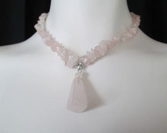 Pale pink Quartz beaded necklace with matching pendant to heal heart and stimulate romance