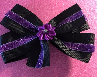 Black and purple Hair Bow