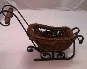 Vintage Small Wicker and Metal and Slide