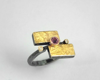 Geometric ring of gold and silver with pink tourmaline stone and two small diamonds, Black gold ring, Textured ring ,Gift for her.