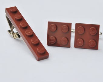 LEGO ® Plate Cufflinks and Tie Clip - BROWN