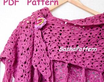 Shell lace crochet shawl pattern