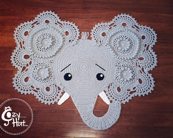 Elephant Rug.Ready to Ship! Only One Available!  Handmade Crochet Perfect Baby Shower Gift. SALE