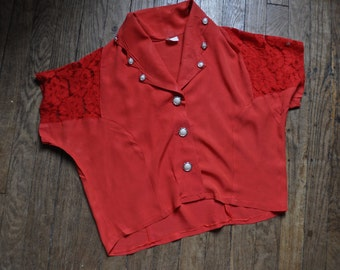 1970s Red Lace Shirt