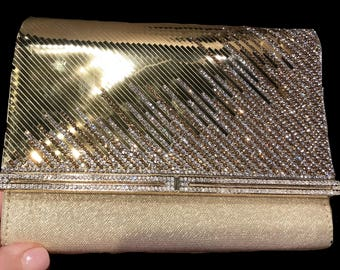 New Evening Metallic Gold  With Gold  Flap & Clear Rhinestone Evening Clutch Bag