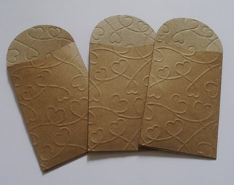 50 x mini kraft paper bags seed packets envelopes,gift favor confetti, party wedding 2.36 x 3.5in  6cm x 8.89 cm mini heart pattern bags