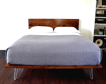Platform Bed And Headboard On Hairpin Legs California King Size Minimal Design NEW LOWER PRICING