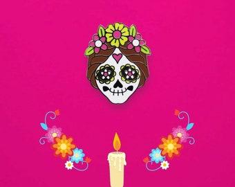 Frida Kahlo Skull Hard Enamel Pin