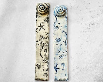 Ocean Inspired Blue and White/Black and White  Incense Holder Ceramic, Sea Shells, Star Fish, Sea Horse, Cottage Decor, Beach, Shabby Chic