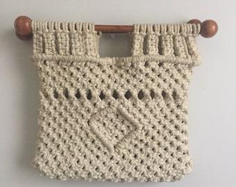 Vintage Macrame Handbag with  Wood Handles