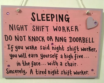 Personalised night worker plaque