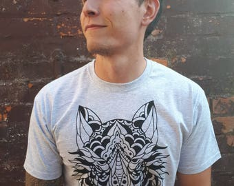 Wolf shirt, animal shirt, wolf tattoo, wolf tee, tattoo shirt, classic tattoo art, old school shirt, hipster gift, gift for tattoo lovers