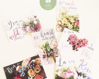 Floral Theme Postcards