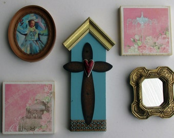 wall art gallery - Assemblage -  a 5 piece wall collage - Free Spirit - colorful flair