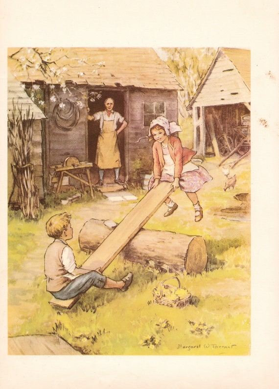 """Illustration of nursery rhyme """"See-Saw Margery Daw"""" by Margaret Tarrant, 12 x 9 inches, 1950 book illustration"""