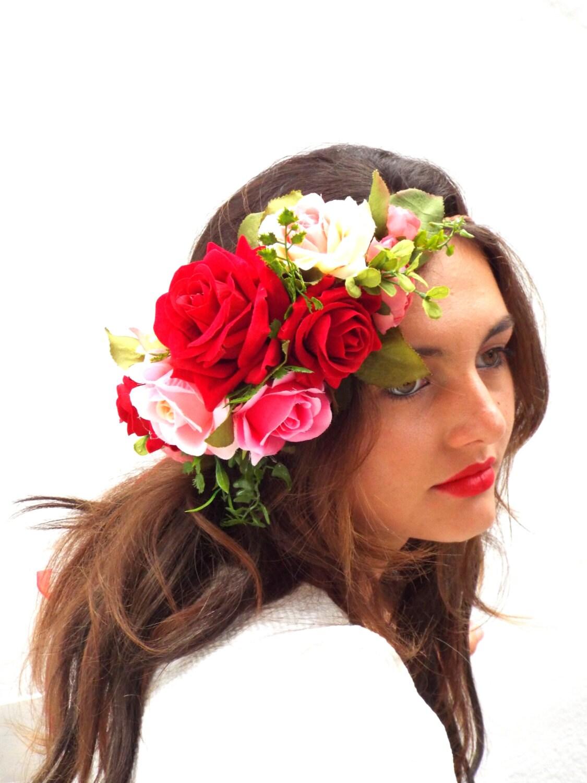Red roses crown pink hair wreath custom flower headband zoom izmirmasajfo Gallery