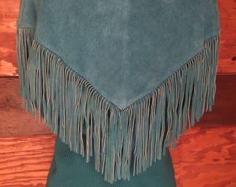 1980s Turquoise Fringe Leather Knit