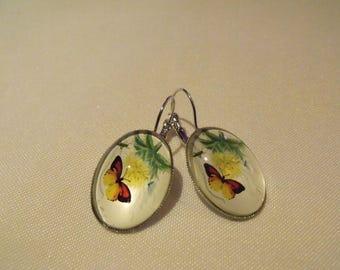 SALE oval glass Butterfly cabochon earrings