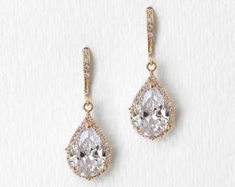 Bridal Earrings Gold Jewelry Wedding Jewelry Teardrop Earrings Bridal Accessories Gold Earrings Dangle Earrings E055-G