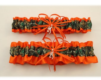 Orange and Camouflage Wedding Garter with Deer Deco- (Your Choice Single or Set)