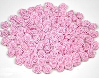 20 pink satin rose heads dark ref 148 2 cm in diameter